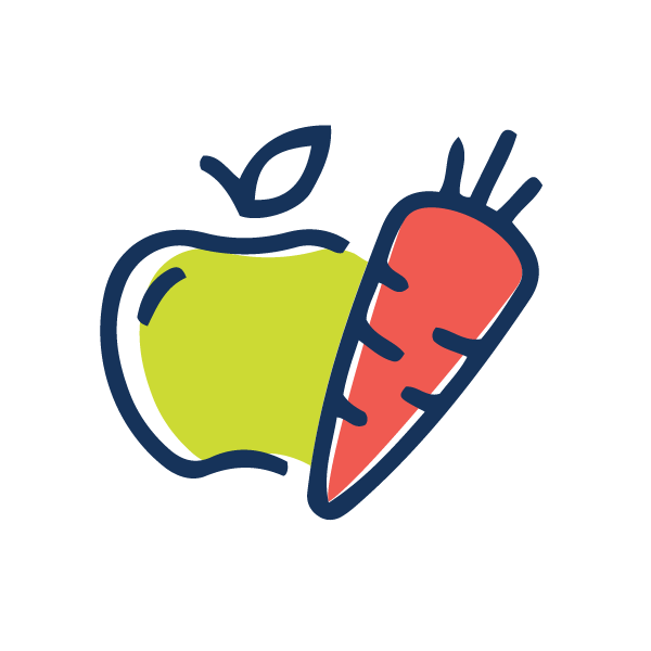 A carrot and an apple to represent nutrition